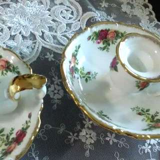 Royal Albert Old Country Roses Saucer Candle Holder. Bone China. England. 1 pair selling at S$60.00.