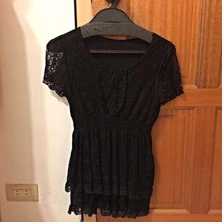 黑色顯瘦蕾絲上衣