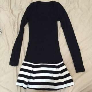 黑白條紋裙襬小洋裝