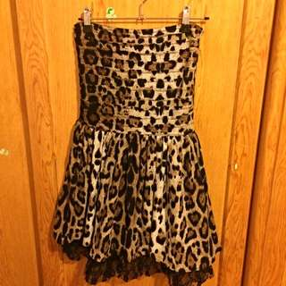 性感平口豹紋小洋裝