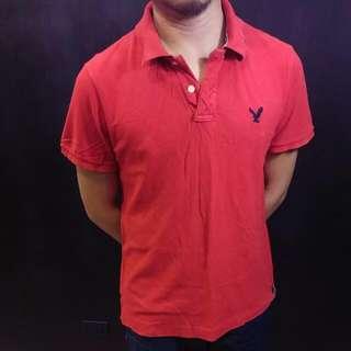 AE 紅色polo衫