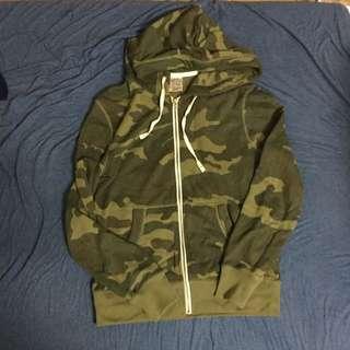 韓國購入 WHOAU.49 迷彩連帽 拉鍊 外套 夾克 M Ape