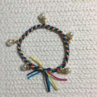 韓系 彩色手工編織珍珠髮圈手鍊