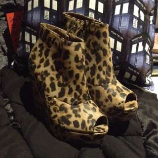 *WAS $50, NOW $18* NEW, Leopard print peep-toe wedge heels - new w/tags -