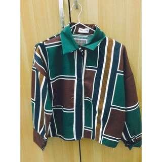 幾何圖騰 復古 文青 墨綠 襯衫 罩衫