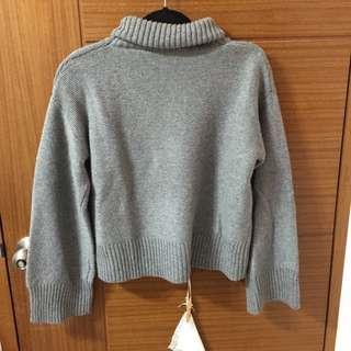 寬袖高領短版毛衣