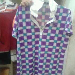 紫色格文短袖扭釦上衣