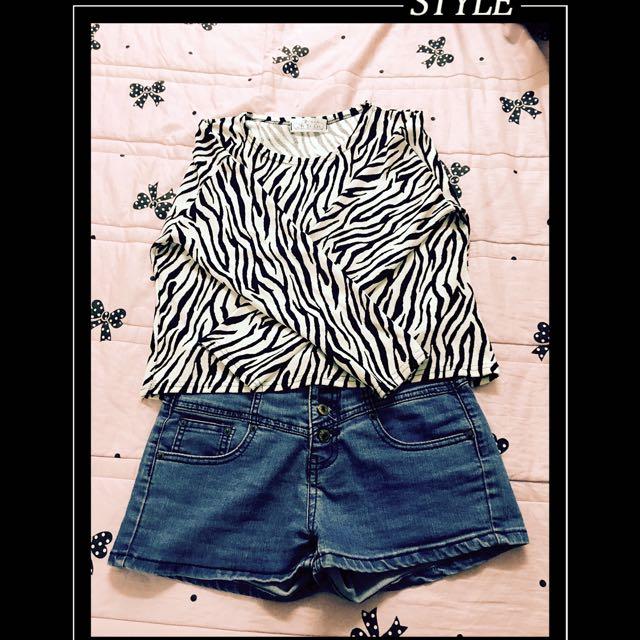 短版斑馬紋上衣(不含照片中的褲子)