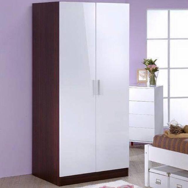 →鏡面二門衣櫥-二色可選←