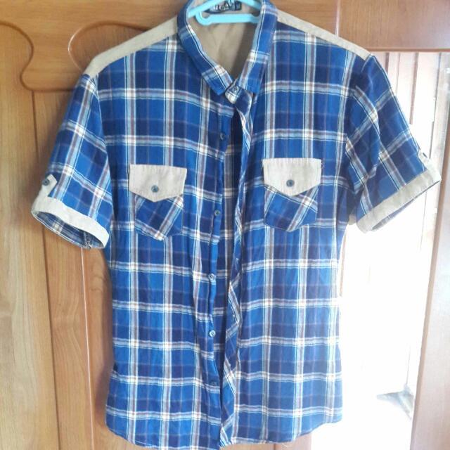 二手>可換可買>格子短袖襯衫