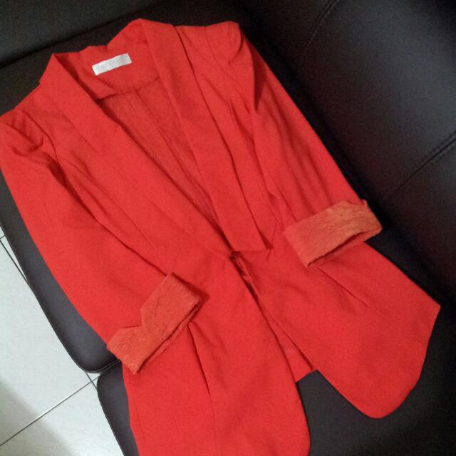 紅色西裝休閒外套