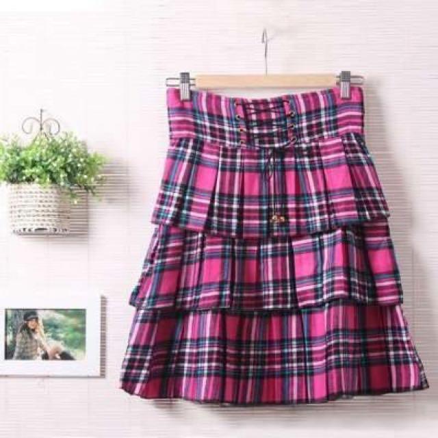 梨花日雜款格紋粉紅高腰裙