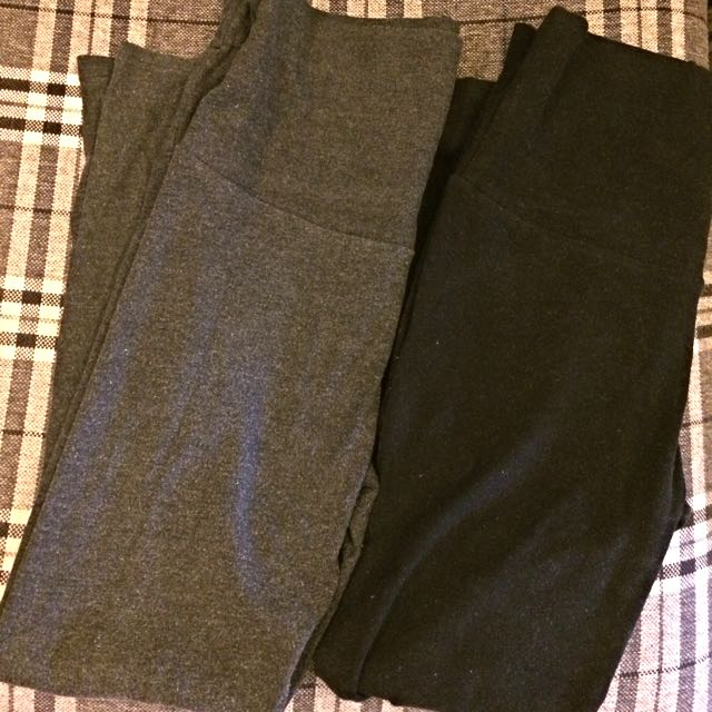 瑜珈褲頭黑灰孕婦褲