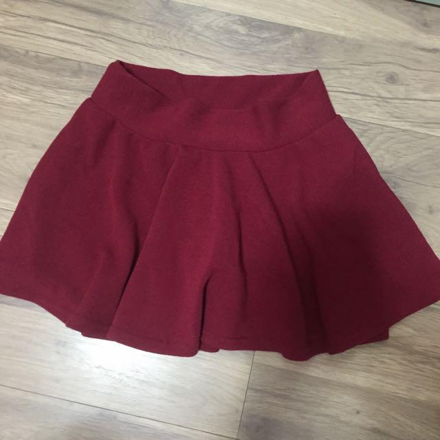 酒紅 褲裙 全新💕