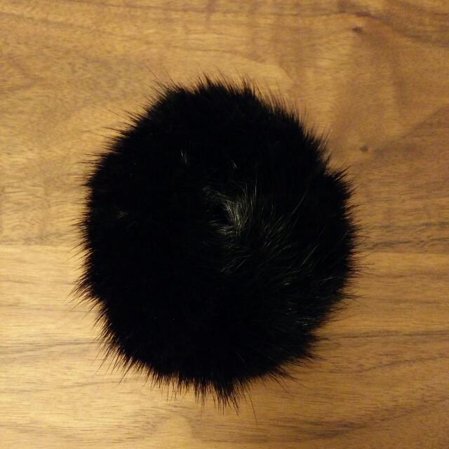 馬尾必備珍稀款 冬季全兔毛綁帶髮飾 全新