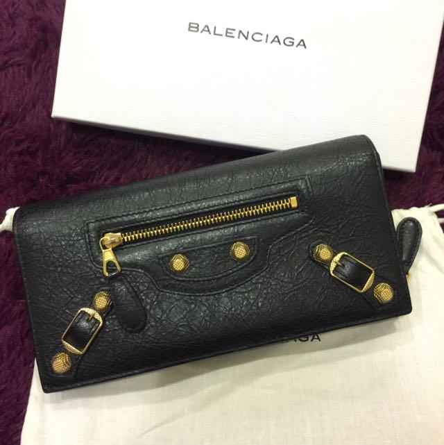 Balenciaga 黑金釦翻蓋長夾