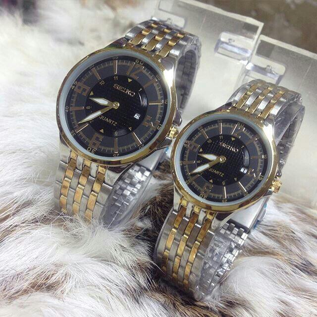 Couple Seiko 212 Watch / Kombi Plat Hitam