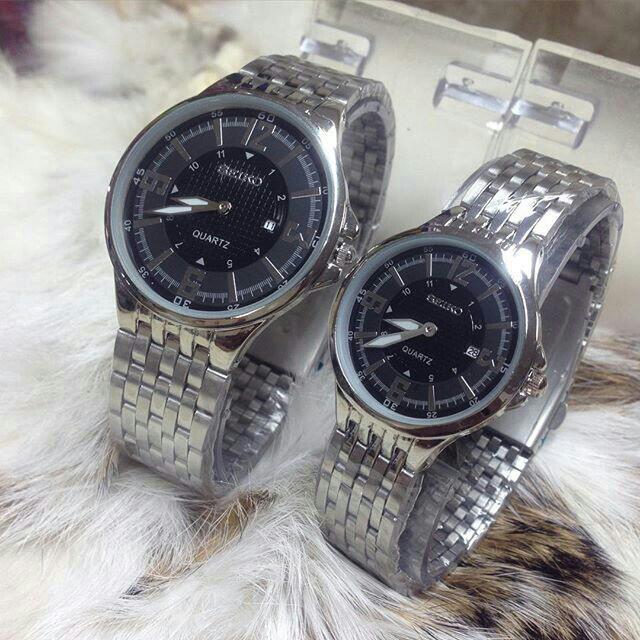 Couple Seiko 212 Watch / Silver Plat Hitam