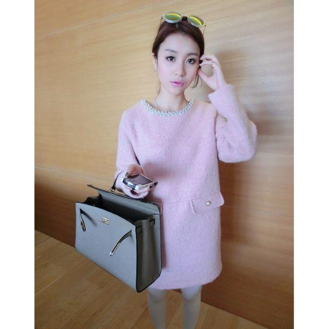 (HJY1207-8) 秋冬精品款優雅釘珠鑲鑽加厚毛呢洋裝連身裙婚宴小禮服