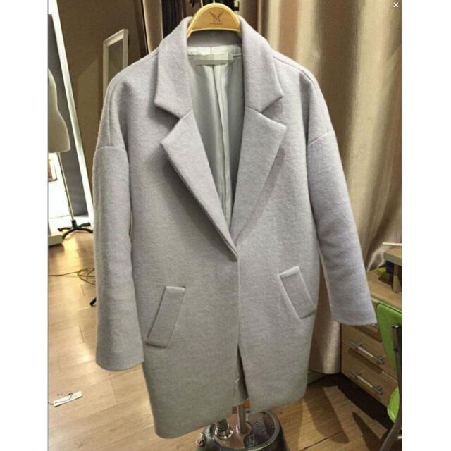 零衣壹貳。預購♡ 保暖大衣外套(紫羅蘭灰)