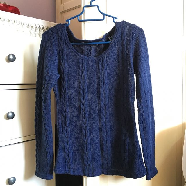 Navy Blue Knitted Sweater