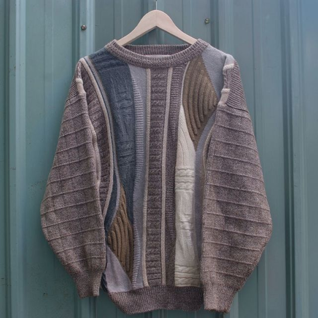 vintage 北歐幾何拼接立體編織紋古著毛衣 sw-05