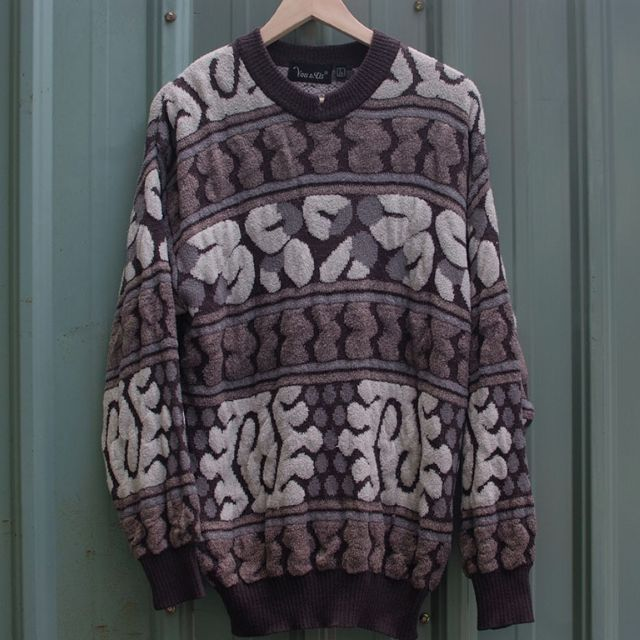 vintage  北歐立體編織紋古著毛衣 sw-17