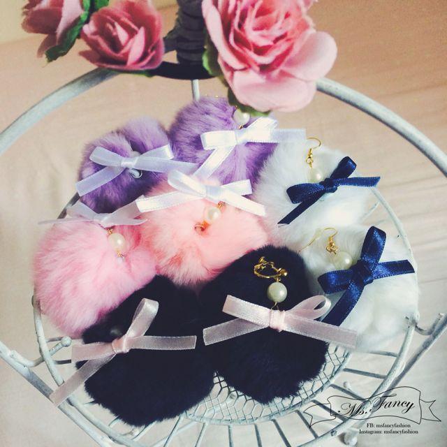 日本原宿少女兔毛球球新作蝴蝶結珍珠設計耳環, Zipper/Vivi雜誌麻豆御用款