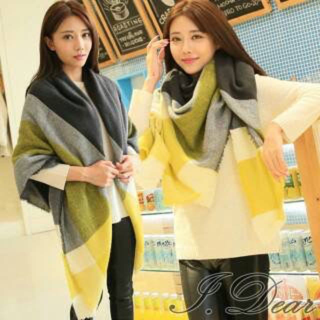 [全新轉賣]檸檬黃x黑灰 圍巾
