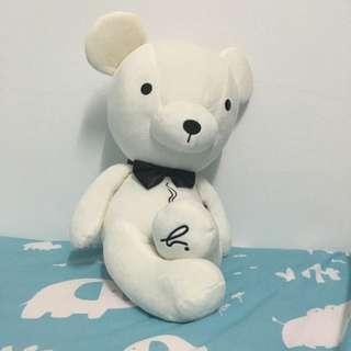 ★ agnes b cafe 18吋白色領結熊 BEANRISTA