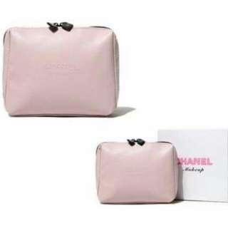 CHANEL 皮革粉色化妝包