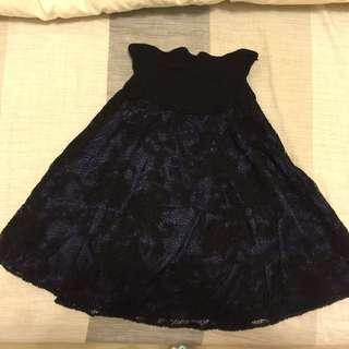 》》黑色蕾絲平口洋裝+短外套 整套