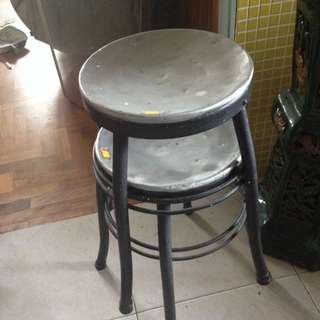 2 Old Iron Stools From 60s. Hard To Come By!