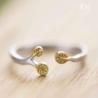 925純銀樹葉可調式戒指