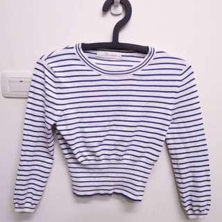 彈性針織藍白條紋顯瘦短板上衣