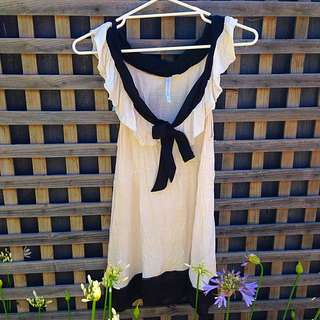 Cream And Black Forever New Top Size 12