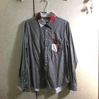 日本購入 拼布 口袋 灰白 襯衫 L號