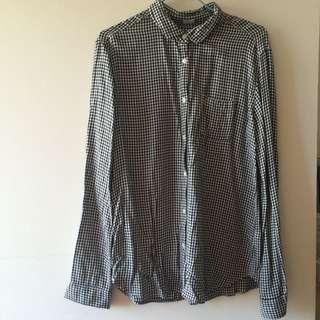GU黑色格紋千鳥格長袖襯衫