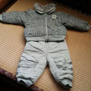 🚚 【二手品 】灰色鋪棉套裝 9到12個月男生款