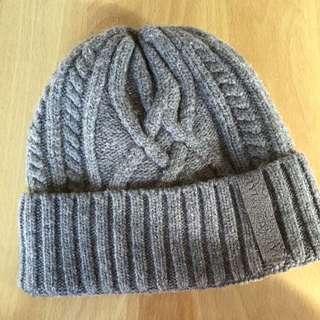 麻花編織毛帽 灰 內鋪毛