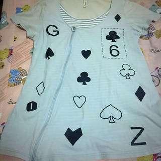 GOZO撲克牌花色假2件上衣