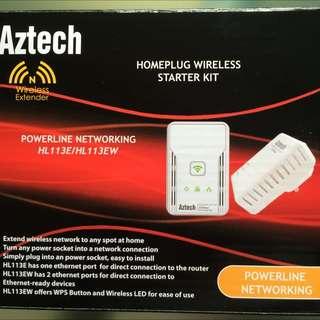 AZTECH HomePlug 200Mbps Wireless Extender Starter kit