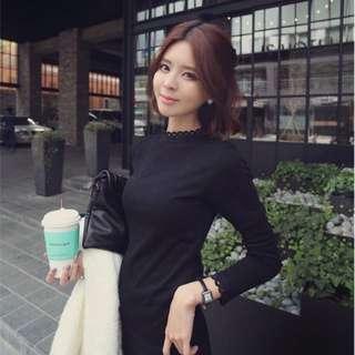 全新韓製鋪棉小立領繡花保暖黑色系上衣