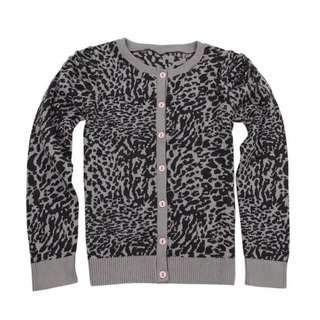 豹紋針織外套10-12y
