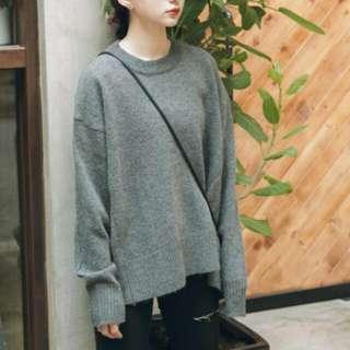 全新✨微醺圓領針織毛衣(深灰)