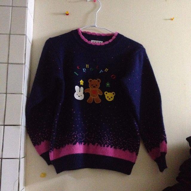 (9成新/小孩15號/大人)超可愛小女孩冬天必備 小熊毛衣 小孩毛衣