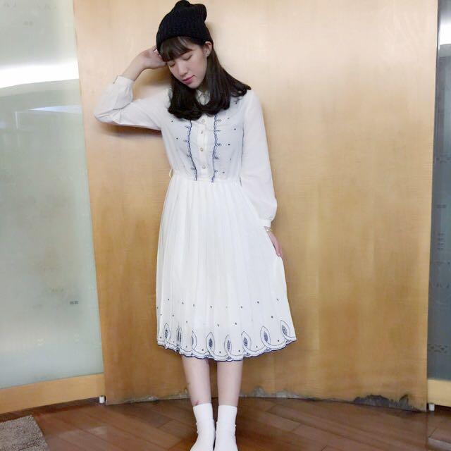 洞蕾絲花邊優雅長洋裝
