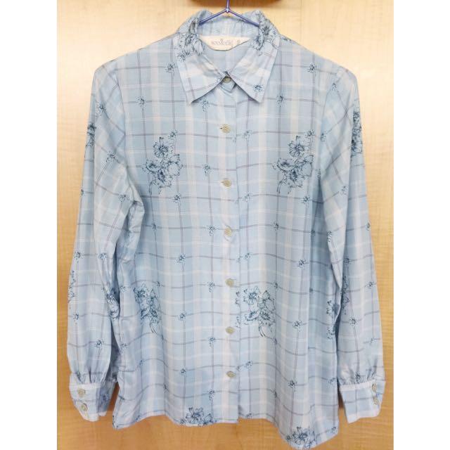 格子花嫩藍色襯衫
