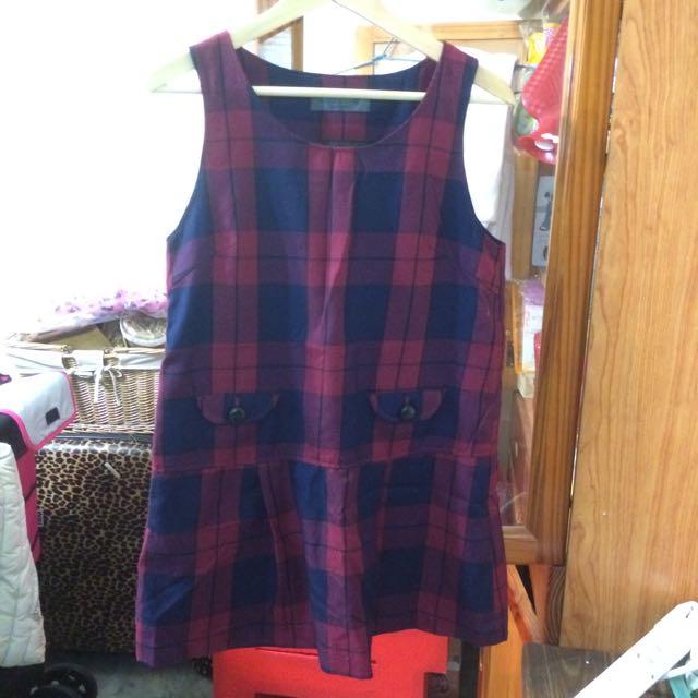紅格紋洋裝