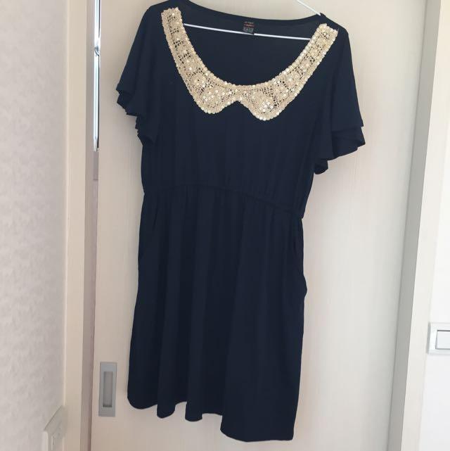 深藍長版洋裝